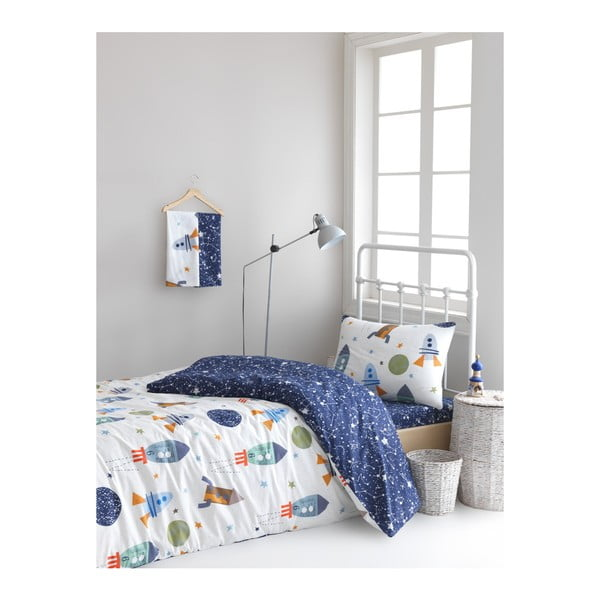 Lenjerie de pat cu cearșaf din bumbac ranforce, pentru pat dublu Mijolnir Spacex Dark Blue, 160 x 220 cm