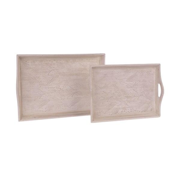 Sada 2 dřevěných táců White Beige