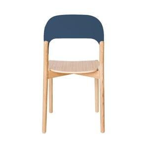 Scaun din lemn de stejar HARTÔ Paula, gri - albastru