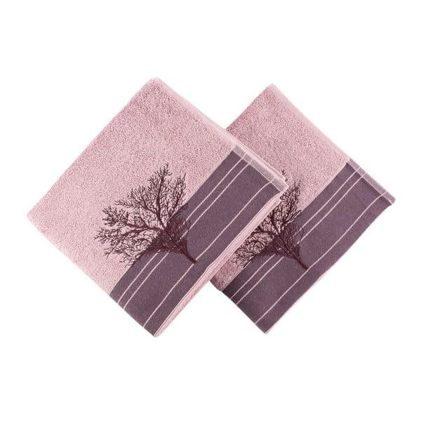 Zestaw 2 burgundowych ręczników Infinity, 50x90cm