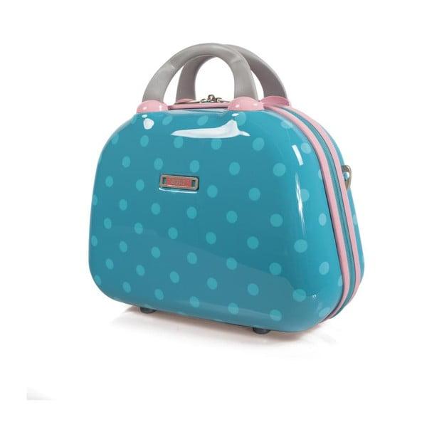Tyrkysový cestovní kosmetický kufřík s puntíky SKPA-T