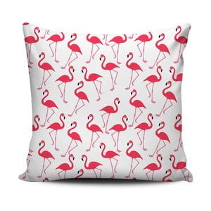 Růžovobílý polštář Home de Bleu Pink Flamingos, 43x43cm