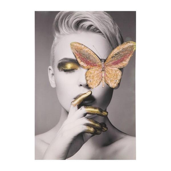 Tablou pictat manual cu ramă din lemn de pin Mauro Ferretti Butterfly, 80 x 120 cm