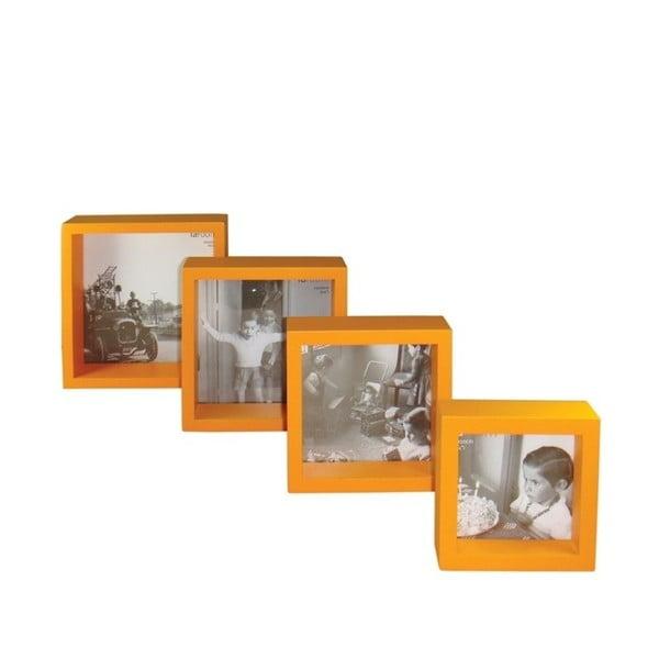 Set 4 dřevěných fotorámečků Paris Orange