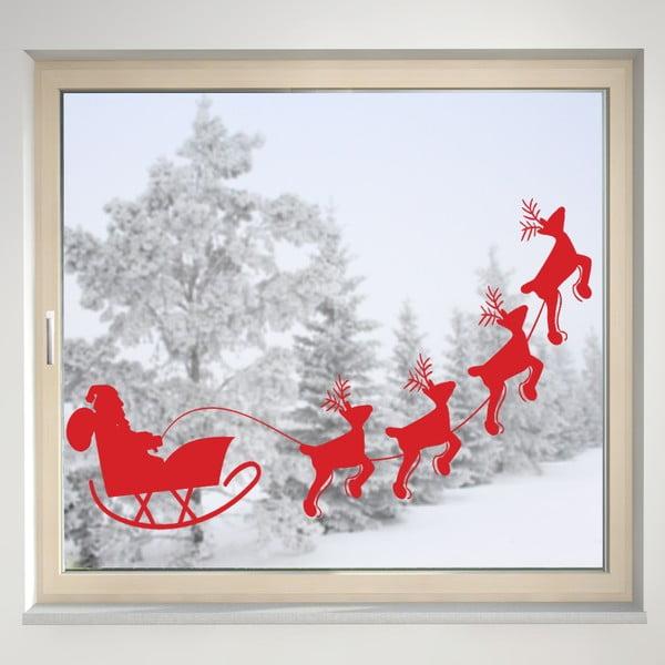 Elektrostatická samolepka Santa a sobi