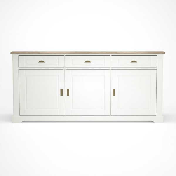 Biela drevená komoda s 3 zásuvkami Artemob Campton