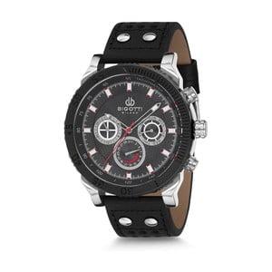 Pánské hodinky s černým koženým řemínkem Bigotti Milano Harley
