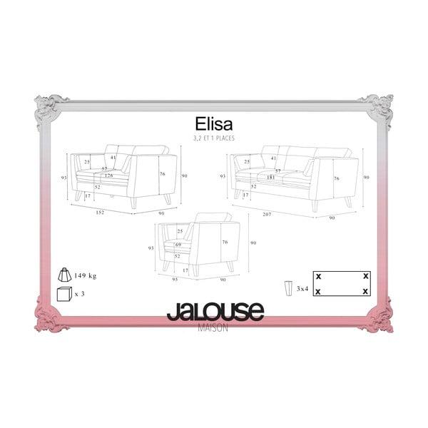 Sada krémového křesla a dvoumístné a trojmístné pohovky Jalouse Maison Elisa
