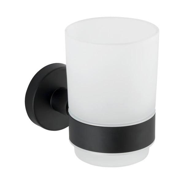 Recipient de perete pentru periuțe de dinți cu suport din oțel inoxidabil Wenko Uno Bosio, alb - negru mat