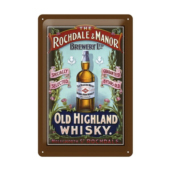 Plechová cedule Whisky, 20x30 cm