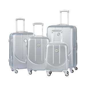 Sada 3 cestovních kufrů ve stříbrné barvě Travel World Amazonia