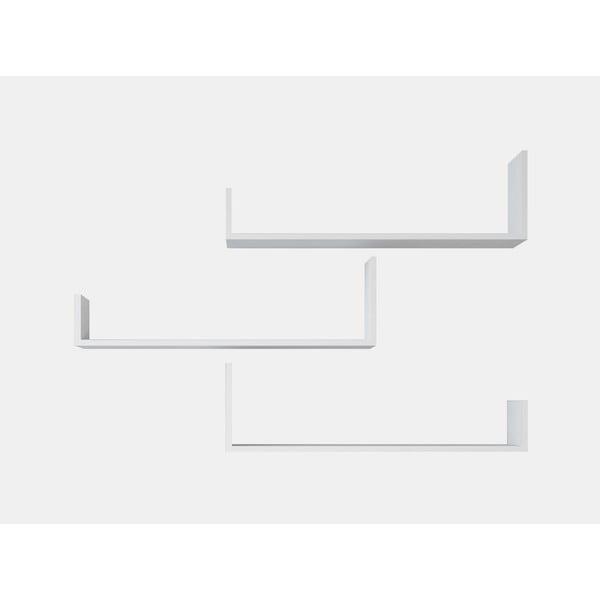 Sada 3 bílých nástěnných poliček Shanghai, šířka 80 cm