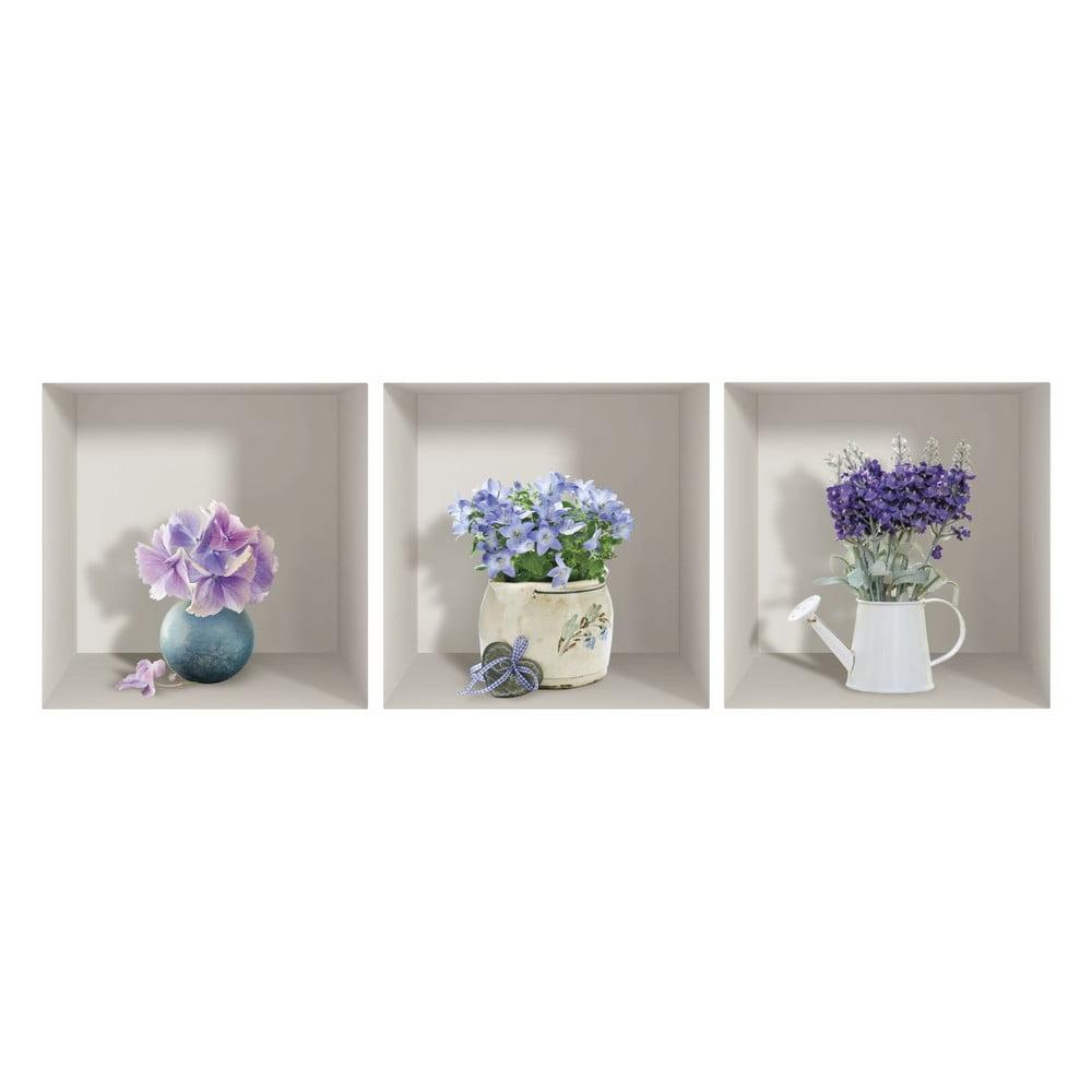 Produktové foto Sada 3 3D samolepek na zeď Ambiance Purple Bouquets