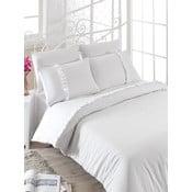 Lenjerie de pat cu cearșaf Manolya, 200 x 220 cm, alb
