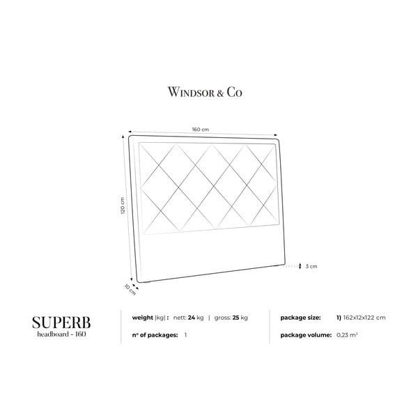 Fialové čelo postele Windsor & Co Sofas Superb, 160 x 120 cm