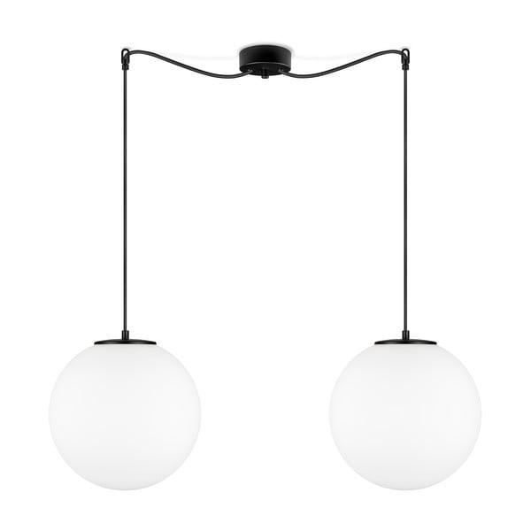 Biele závesné svietidlo s 2 tienidlami a objímkou v čiernej farbe Sotto Luce TSUKI L
