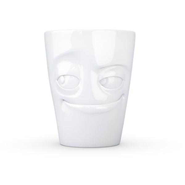 Bílý šibalský porcelánový hrnek s ouškem 58products