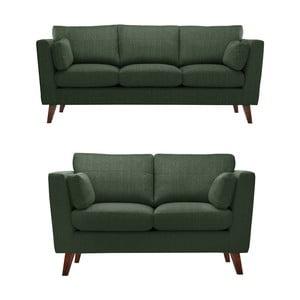 Set 2 canapele pentru 2 și 3 persoane Jalouse Maison Elisa, verde închis