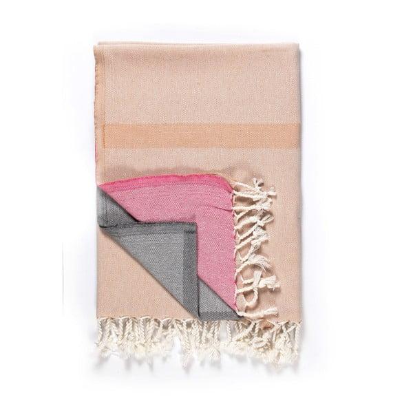 Prosop de plajă Kate Louise Cotton Collection Line, 100 x 180 cm, bej-roz-gri