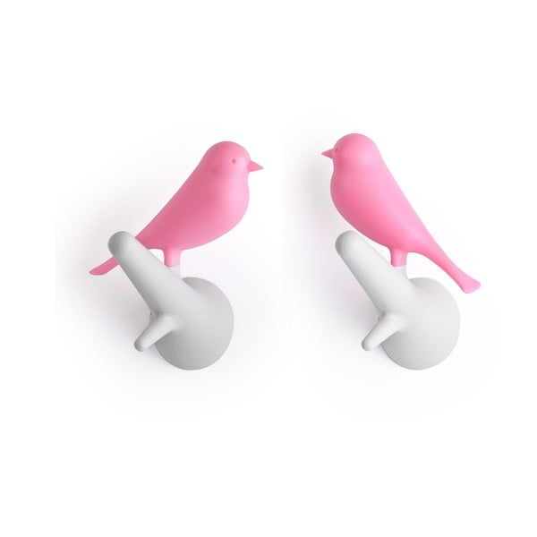 Set 2 cuiere de perete Qualy&CO Sparrow, alb - roz