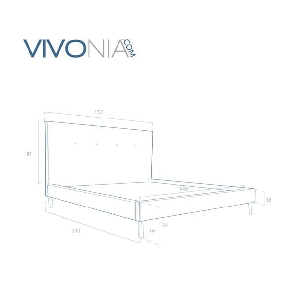 Pastelově zelená postel s přírodními nohami Vivonita Kent,140x200cm