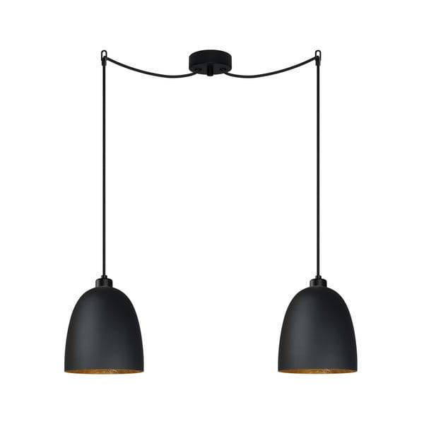 Černé dvojité zásvěsné svítidlo s detailem ve zlaté barvě Sotto Luce AWA Elementary 2S