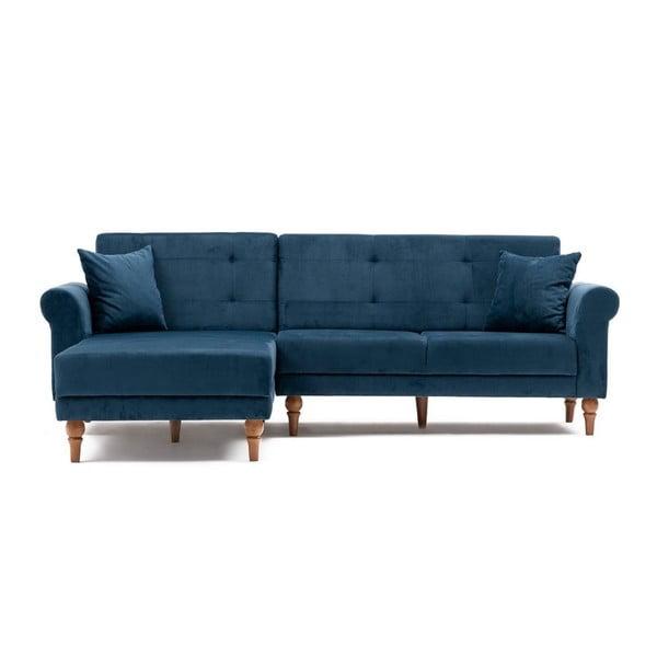 Canapea extensibilă Madona, partea stângă, albastru închis