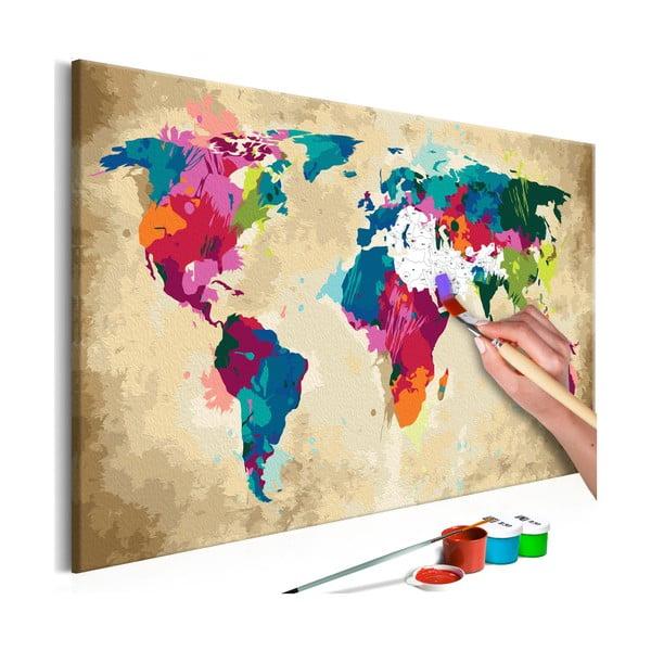 DIY set na tvorbu vlastného obrazu na plátne Artgeist Colorful World Map, 60 × 40 cm