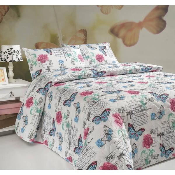 Sada prošívaného přehozu přes postel a dvou polštářů Carmen White, 200x220 cm
