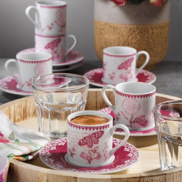 Sada 6 porcelánových šálků s podšálky Kutahya Rose Floral, 50 ml