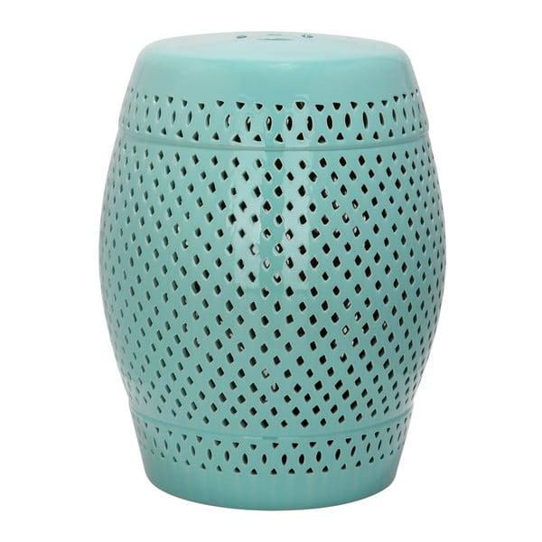 Măsuță din ceramică adecvată pentru exterior Safavieh Diamond, ø35cm, albastru turcoaz
