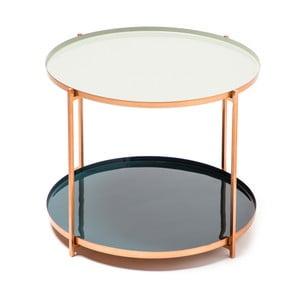 Šedo-petrolejový odkládací stolek 360 Living Romy 222, ⌀ 57 cm