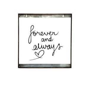 Skleněná tabulka s nápisem Forever, 30x30 cm