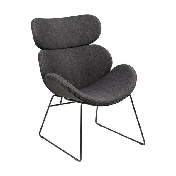 Cazar sötétszürke fotel fekete lábakkal - Actona