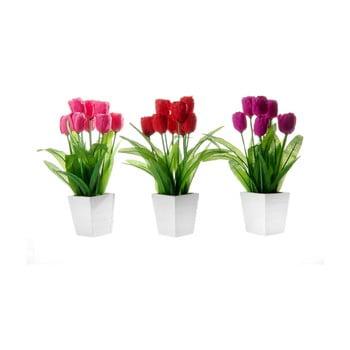Set 3 flori artificiale în ghiveci Unimasa Tulip imagine