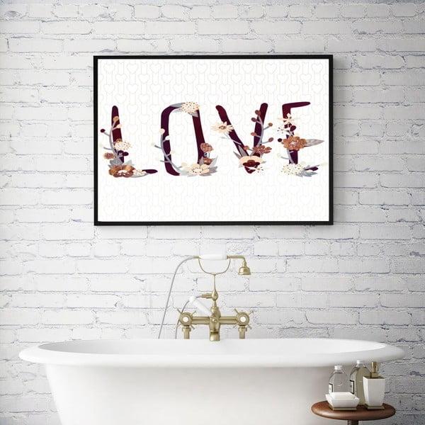 Plakát v dřevěném rámu Flower love, 38x28 cm