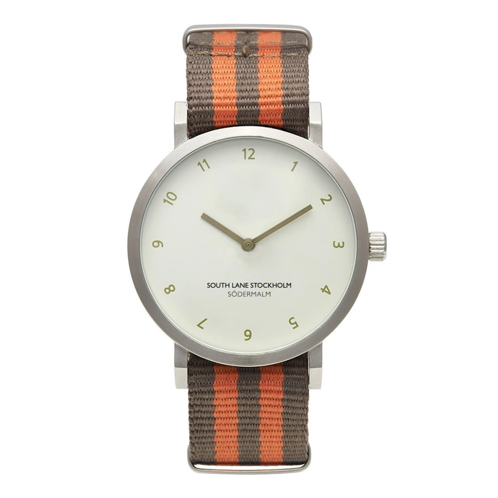 Unisex hodinky s hnědooranžovým řemínkem South Lane Stockholm Sodermalm Stripes