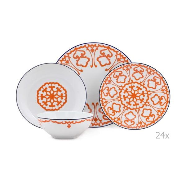 24-częściowy zestaw talerzy porcelanowych Kutahya Vullo