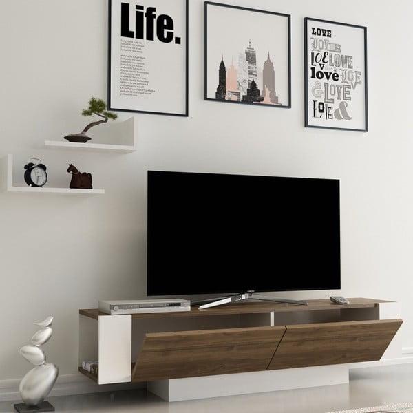 Bílý TV stolek s detaily v dekoru ořechového dřeva Matera Walnut White