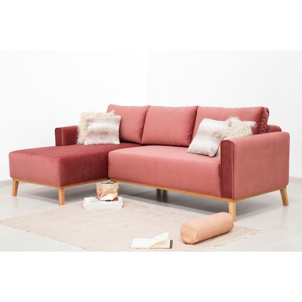 Pudrově růžová 3místná sedačka levý roh Vivonita Milton Trend