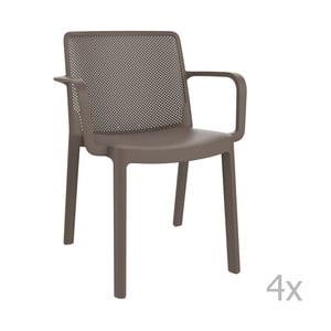 Sada 4 hnědých zahradních židlí s područkami Resol Fresh