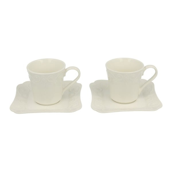 Sada 2 porcelánových šálků s podšálkem Duo Gift Ing, 100 ml