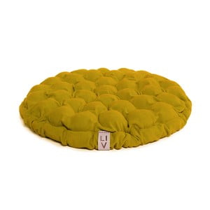 Pernă relaxare cu bile de masaj Lindy Vrňáková Bloom, Ø 65 cm, galben