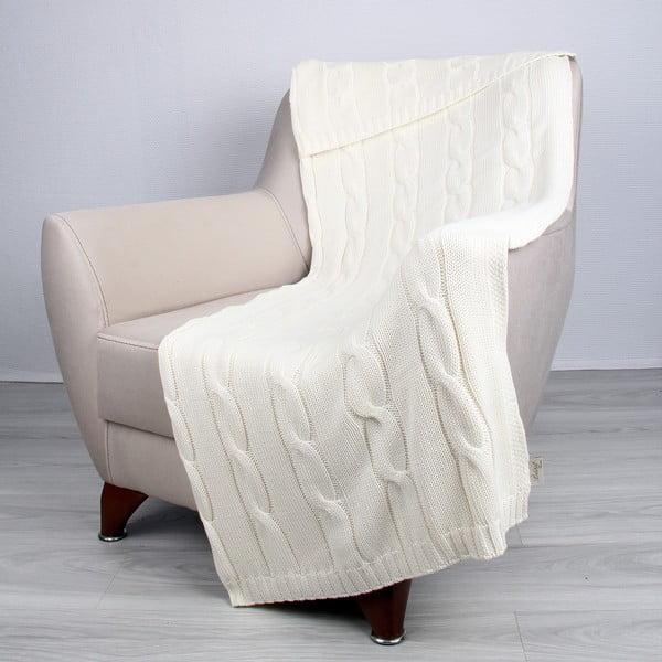 Světle béžová bavlněná deka Couture, 170x130cm