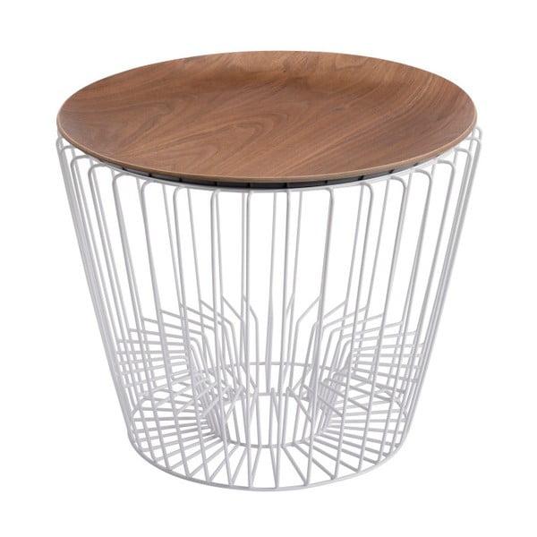 Odkládací stolek z kovu v dekoru ořechového dřeva HARTÔ Ernest, Ø 50 cm