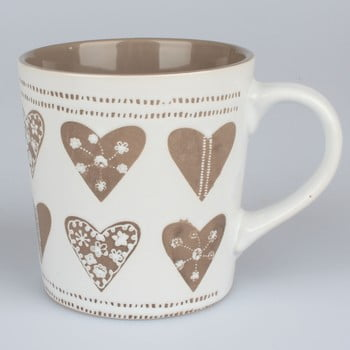 Cană ceramică decorată manual Dakls Heart II, 473 ml, alb bej