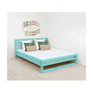 Tyrkysově modrá dřevěná dvoulůžková postel Benlemi DeLuxe, 200x190cm