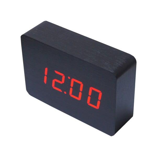 Červený LED budík Brick, černý