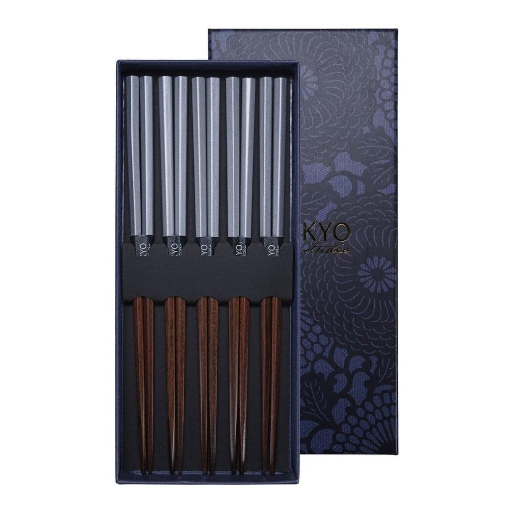 Sada 5 párů čínských hůlek z bambusu Tokyo Design Studio Platina, délka 21,5cm