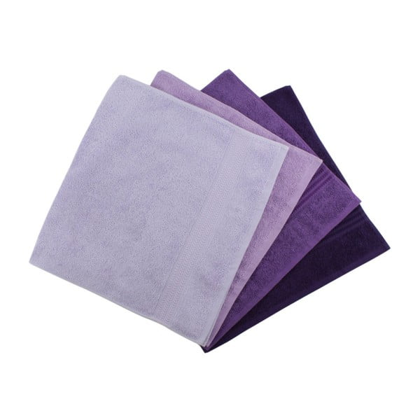 Set 4 prosoape din bumbac Rainbow Violet, 50 x 90 cm, violet